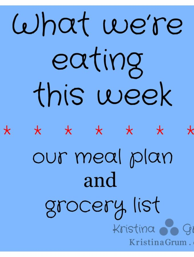 Meal plan for week of 1/19/2014