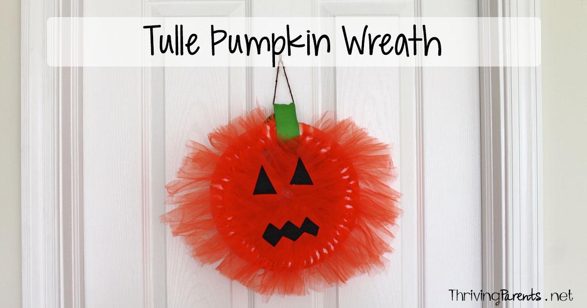 Tulle Pumpkin Wreath Thriving Parents