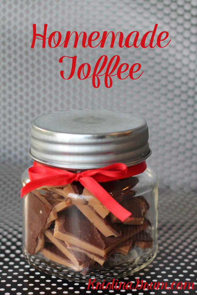 Homemade toffee is an easy treat to make and makes the perfect gift. Place it in a box or a jar, add a bow, and deliver!