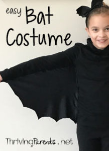 This bat costume is super easy and perfect for a child or an adult. It only requires 4 long stitches on a sewing machines or can be sewn by hand.
